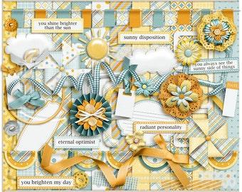 The Sunny Side Digital Kit - Digital Scrapbooking Page Kit INSTANT DOWNLOAD