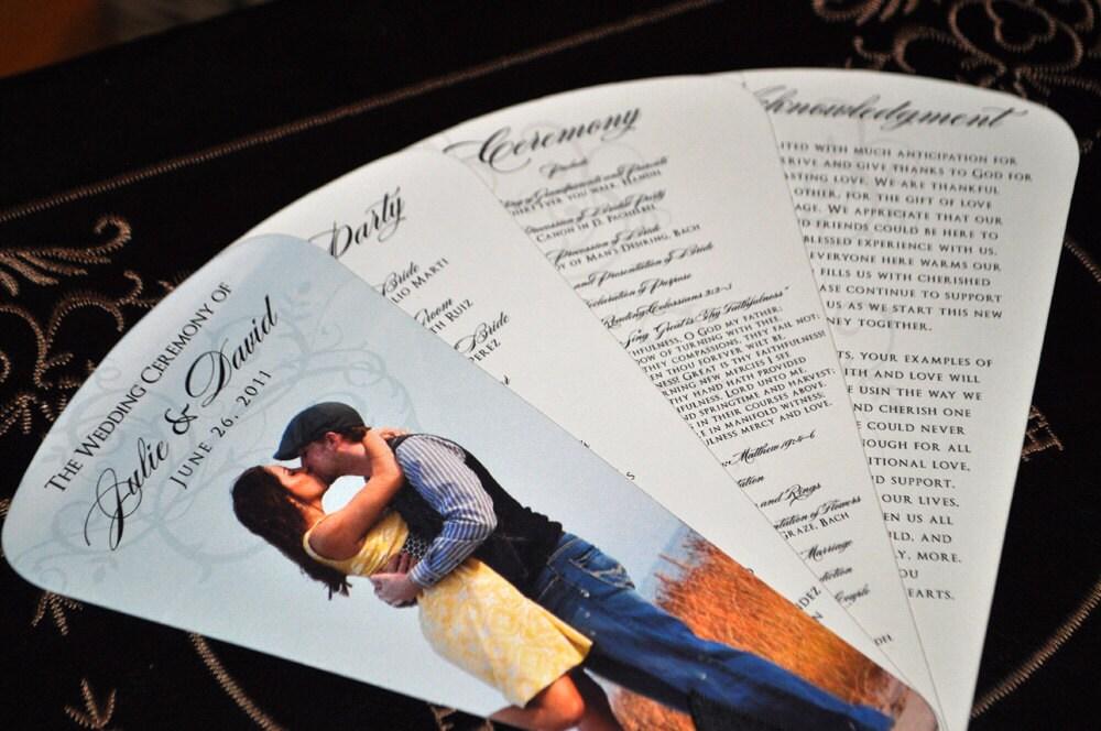 Wedding Photography Programs: Fan Wedding Programs: Custom Photo Fan Wedding By PunkyPosh