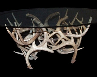 Rustic Antler glass coffee table