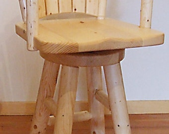 Log furniture Rustic Snow Creek Swivel Bar Chair