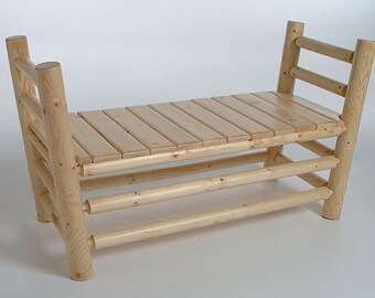 Log furniture Rustic Snow Creek Bed Side Bench