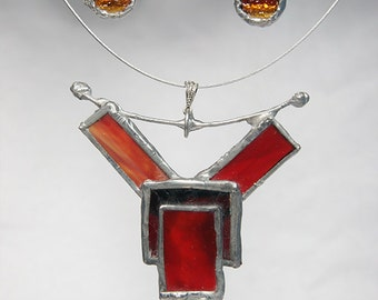 Unusual  Stained Glass Necklace and Earring Set