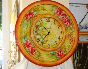 Roses Wallclock,Round Romantic Wallclock - Big wooden handpainted wallclock.