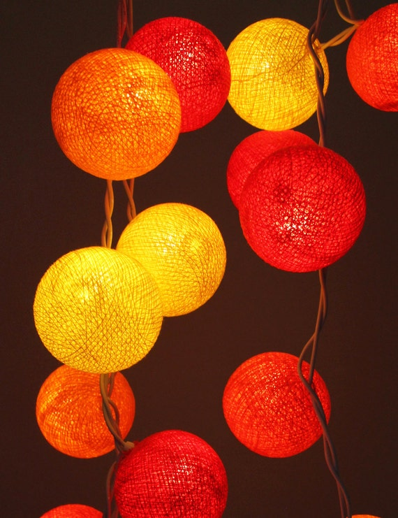 Hot Red Tone Cotton Ball String Light Fairy Light by Nisa33