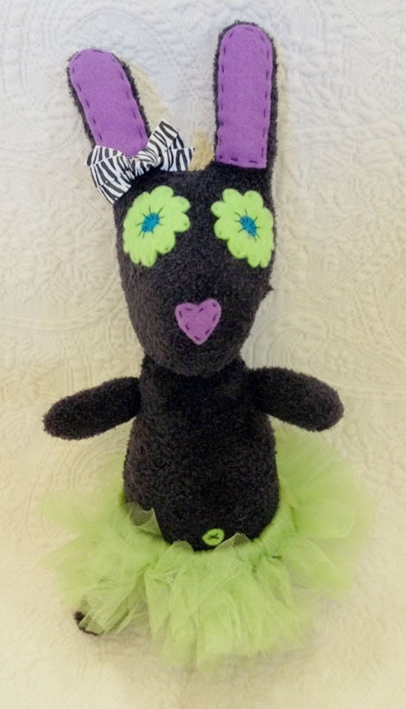 Handmade sock animal - stuffed animal - Fuzzy black and green bunny ballerina