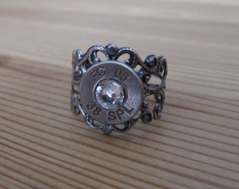 bullet jewelry bullet ring country jewelry rustic bullet ring 2nd amendment 38 special bullet ring with clear crystal accents - Redneck Wedding Rings