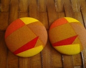 Extra Large Fabric Button Earrings-Mod Queen