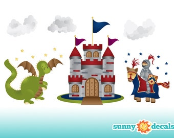 Jumbo Castle u0026 Knight Fabric Wall Decals, Castle, Dragon, Knight Theme Wall  Stickers and Decor for Boys room and Nursery by Sunny Decals