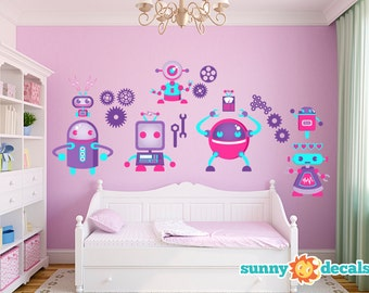 Jumbo Robot Wall Decal, Nursery Wall Decals with Seven Large Robots, Gears, & More, Wall Decals for Girls by Sunny Decals