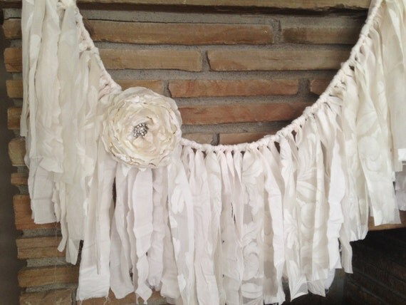rustic wedding garland shabby chic decor vintage lace. Black Bedroom Furniture Sets. Home Design Ideas