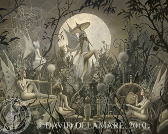 """The Spinning Web (Unframed  32""""x24"""" Giclée Print) Fairy Art  by David Delamare"""