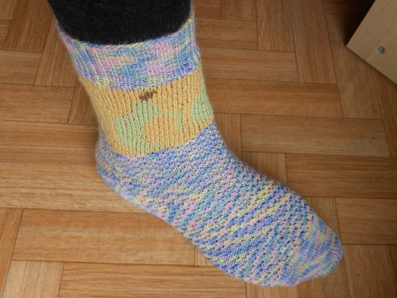 Knitting Pattern Sock Short Row Heel : Sock knitting pattern Knit wool socks Pear by CuteCreationsByLea
