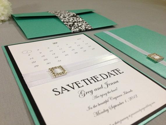 Tiffany Blue Wedding Invitations Kits: Items Similar To Tiffany Blue Pocketfold Wedding Kit With