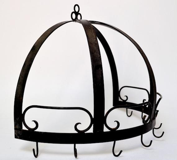 wrought iron half dome pot rack wall hanging