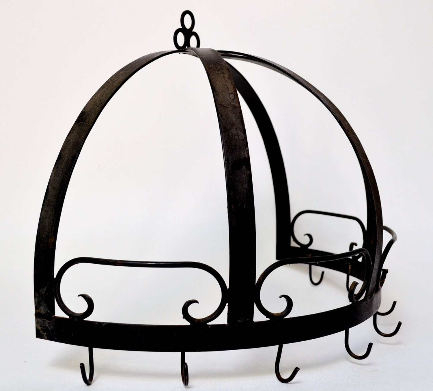 Wrought Iron Half Dome Pot Rack Wall Hanging