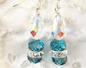Swarovski Crystal Turquoise Dangle Earrings, Sterling Silver French Style Hooks, Rhinestone Bead, Handmade, Sleek, Modern, Fashion, Stylish