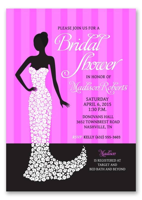 Bridal Shower Invitation Design - Pink and Black Wedding Shower ...