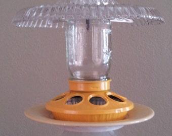 Yellow Vintage Glass Bird Feeder - Daisies & Sunshine