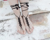 Barefoot Sandals Bridal Barefoot Sandals Beach Wedding Shoes Garden Wedding Barefoot Jewelry Toe Thong black - JasmneAccessores