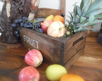 A vintage crate look fruit bowl, perfect country chic addition to the kitchen