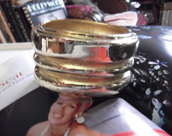 Vintage 1980s 1990s Bracelet Deadstock With Tag Cuff Clamper Gold Tone