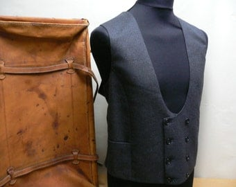Vintage wool vest , custom made ,