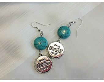 Earrings, Bottle Cap Earrings, Coca-Cola Charm Earrings, Wire Wrapped Turquoise Beaded Earrings, Blue Turqoise Earrings, Bottle Cap Charms