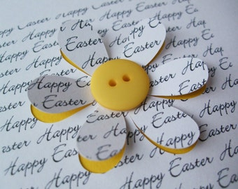 Easter Card - Button Flower - Paper Cut Flower - Handmade Greeting Card - Personalised Easter Card - Etsy UK