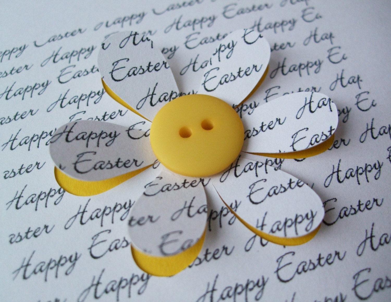 Easter Card Button Flower Paper Cut Flower Handmade – Easter Cards Handmade