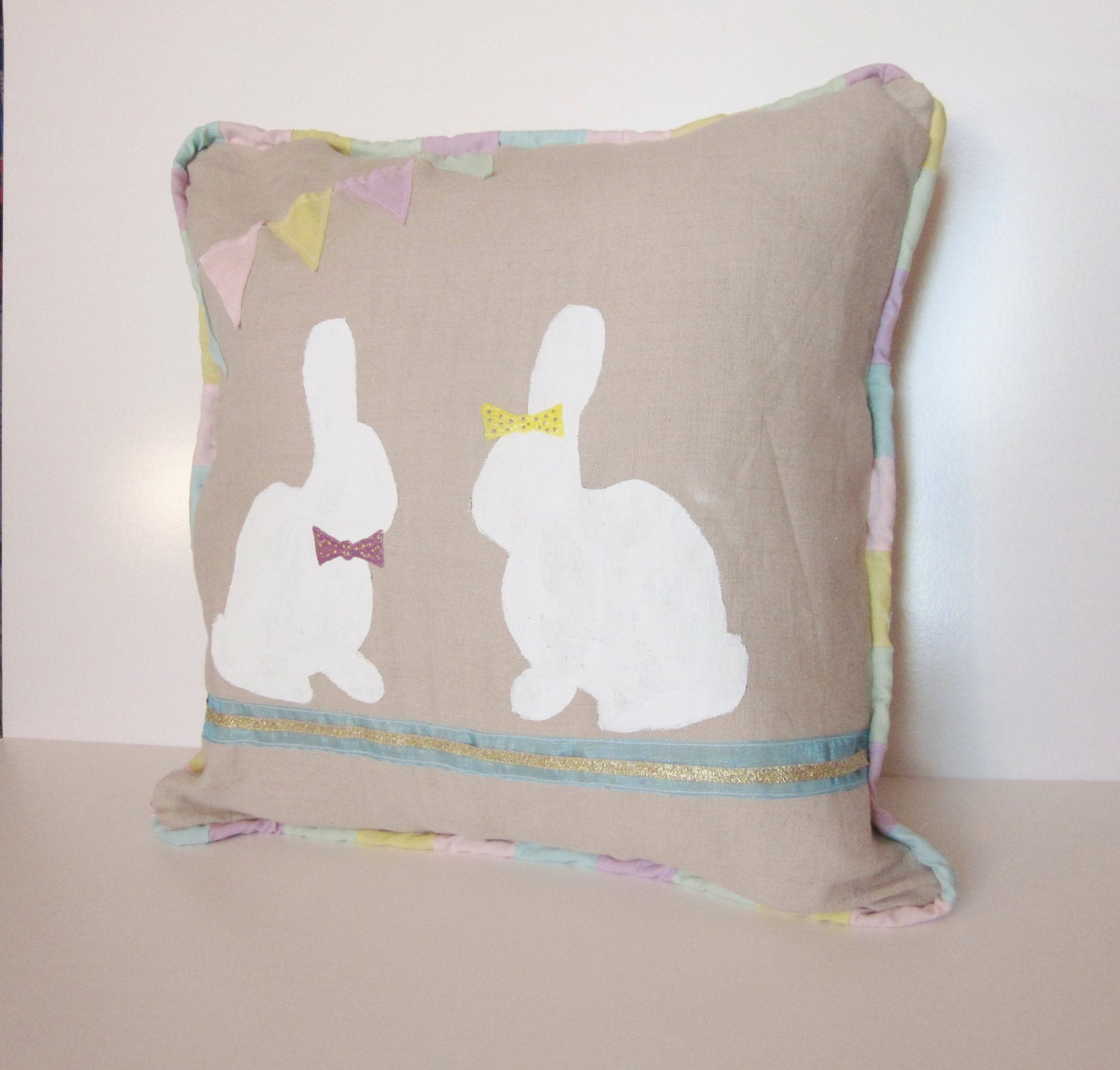 Raz 18 Colorful Bunny Easter Pillow: 18 X 18 Easter Pillow Bunny Burlap Pastel By PrettyPinkParcels