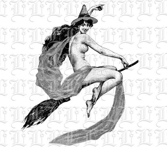 Nude Flying Witch On Broom Vintage Clip Art Illustrations Digital