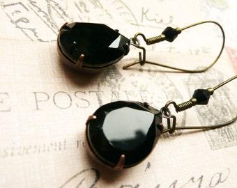 Earrings, Long Black Swarovski teardrop dangle earrings No. 104