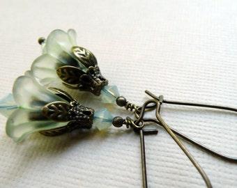 Earrings, mint green lucite flower dangle earrings No. 158