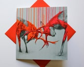 Fighting Stags - Fine Art Greetings Card, Blank Inside, Stag Card/Stags Note Card