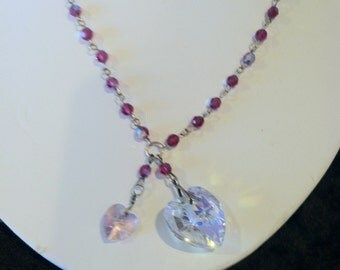 two-hearts-are-better-than-one necklace/fuschia ab crystal with clear ab &pink hearts