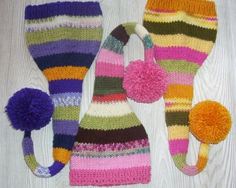 Knit Baby Boy Girl Unigender Hat Hobbit Elf Gnome Pixie Pink Purple Gold Newborn Baby Gift or Photo Prop