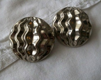 """1 1/2"""" Vintage Silver Toned Clip on Earrings"""