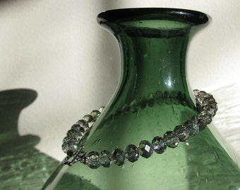 Sparkly Gray Glass Beaded Extra Large Bracelet with Sterling Silver Toggle