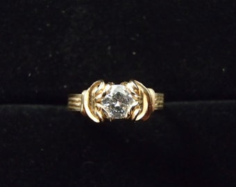 Ring, CZ and 14ky gold-filled Wirewrap, Size 7