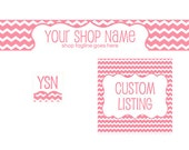 Etsy Banner Set - 3 Piece - New Chevron Pink - with text