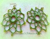 Green Crochet Earrings, Statement Earrings, boho, Direct Checkout