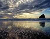 THE OCEAN COLLECTION, photograph, Oregon coast, stormy, dramatic, clouds, beach, ocean, nautical, blue, yellow, gold