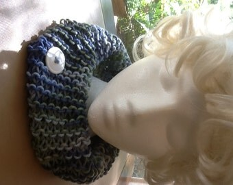Sporty Blue tweed knitted Cowl