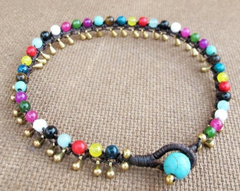 Little Cascade Anklet with Multi Stones Bead