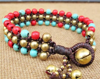 Turquoise and Red Coral Beaded Woven Bracelet with Brass Bead