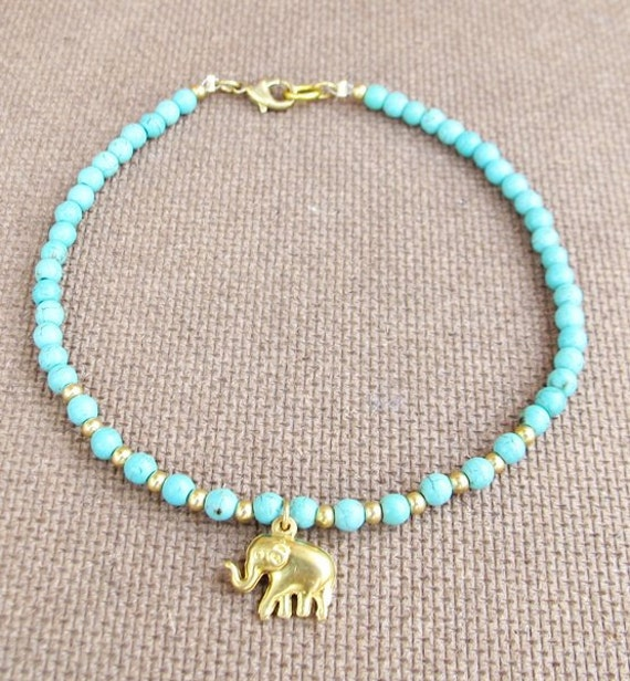 4 mm Turquoise Bead Summer Ankle Bracelet added Elephant Charm