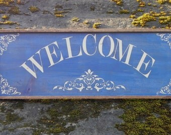 Welcome Sign, Home Accents, Outdoor Sign, Country Home Decor, Wall Accents, Wall Decor, Handmade Wall Decor, Cottage Chic, Housewarming Gift