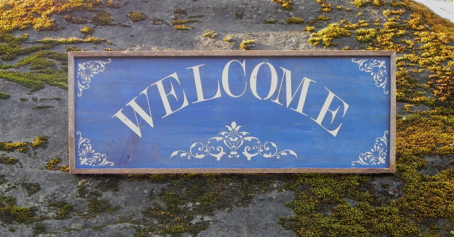 Welcome sign home accents outdoor sign country home decor for Outdoor decorative signs