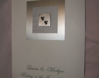 Lovely handmade personalised Wedding card 2 silver hearts