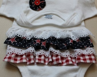 SALE*** Size 6 - 9 month Ruffle butt onesie, bodysuit, Fourth of July, Red, White and Blue baby outfit